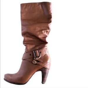 Bronx Brown Buckle Heeled Boots Size 9